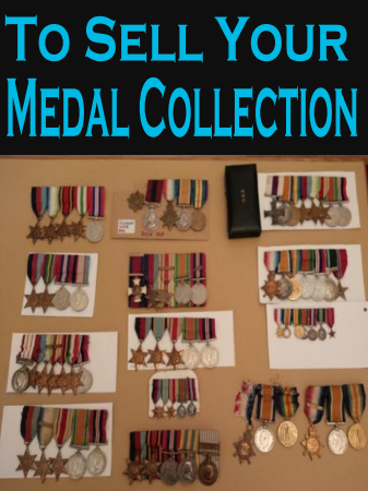 "Groups of medals with the caption ""Sell your collection ""."