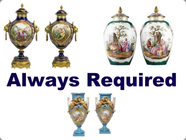 A Pair Of Gilt Metal Mounted Vases