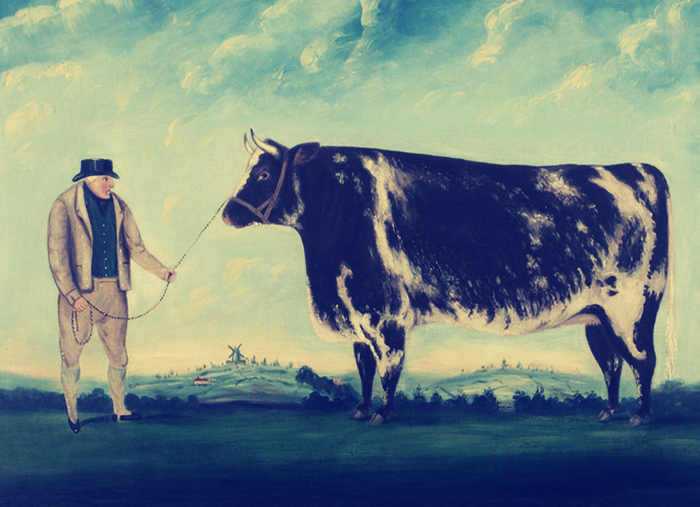 A Primative painting of a cow
