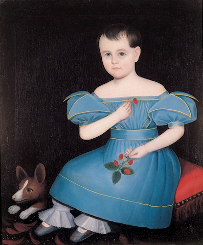 A portrait of a girl American folk art