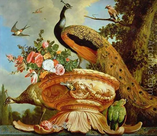 An oil painting of birds in a classical landscape